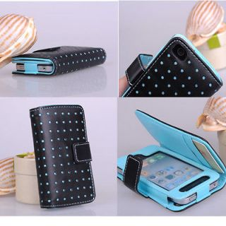 New Blue Dot Wallet Leather Card Holder Pouch Case Cover For iPhone 4#
