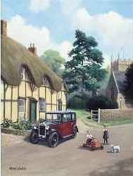 Pedal Car & Vintage Austin 10 Cambridge Motor Car In Village Card Art