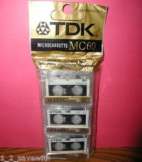 VINTAGE TDK MC 60 MC60 D MC60U3 BLANK MICRO CASSETTE TAPES NEW