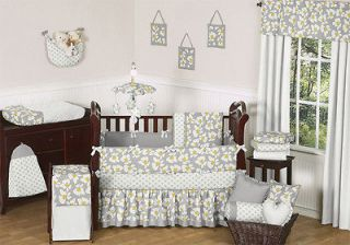 YELLOW GRAY AND WHITE FLORAL BABY GIRL FLOWER GREY BEDDING CRIB SET