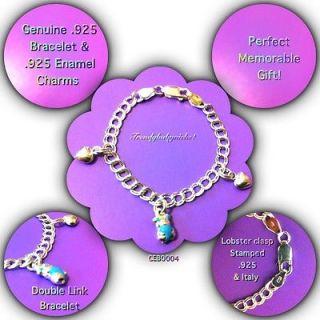 .925 Sterling Silver Baby Kids Enamel Bear & Hearts Charm Bracelet