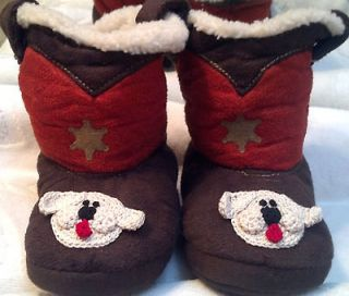 COWBOY FLEECE SLIPPERS BOOTS GIRLS BOYS UNISEX BABY INFANT 6 12 Months