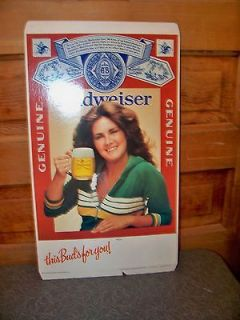 Vintage This Buds For You Budweiser Beer Stand Up Cardboard Sign