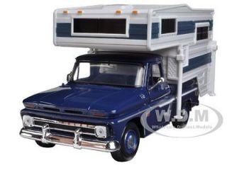 1966 CHEVROLET C10 FLEETSIDE PICKUP TRUCK W/CAMPER BLUE 1/24 BY