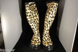 Womens,CHEETAH Rain Boots,Ballard Designs,New w/Black Carry Bag,Large