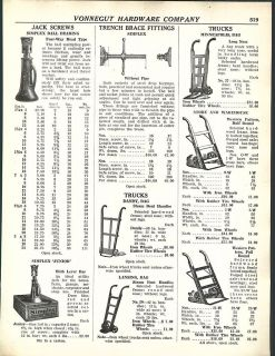 1938 AD Simplex Ball Bearing Jack Screws Warehouse Dollies Railroad