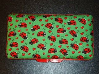 RED LADY BUGS on GREEN Baby Wipes Travel Case