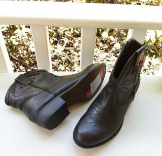 New STEVE MADDEN GIRL Low Black Western Cowboy Boots Shoes Womens 6 M