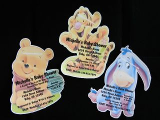 WINNIE THE POOH TIGGER EYORE BABY SHOWER INVITATION THANK YOU CARDS