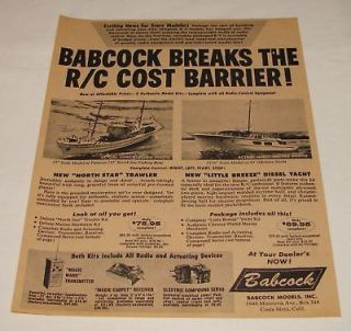 1958 BABCOCK r/c model boats ad~ North Sea Fishing Boat