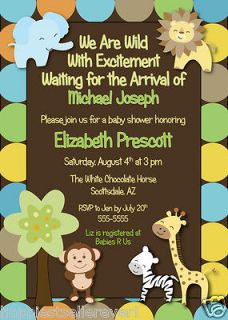 ZEBRA GIRAFFE LION ELEPHANT printable Baby Shower invitation boy