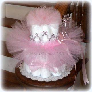 NEW Princess Diaper Cake Baby Shower Centerpiece Pink Tutu Decoration