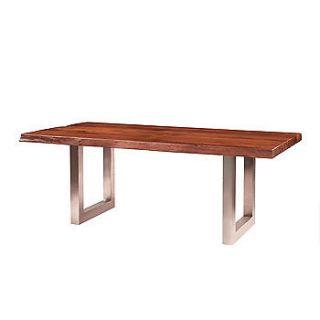 82 Long Montana Metal Leg Dining Table Dark Nat solid acacia wood