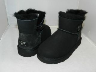 NEW UGG KIDS MINI BAILEY BUTTON BOOT BLACK 100% AUTHENTIC IN ORIGINAL