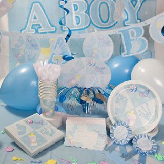 BABY SHOWER PLATES INVITAT IONS DECOR BLUE ITS A BOY