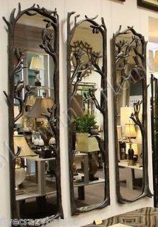 Large BIRD BRANCH 3pc Wall Mirror Set FULL LENGTH Window 75 Metal