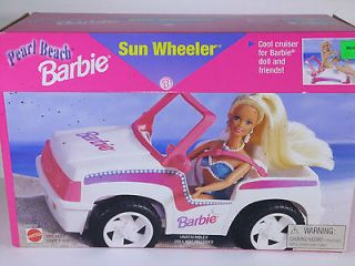 NIB BARBIE DOLL 1997 PEARL BEACH SUN WHEELER CAR JEEP