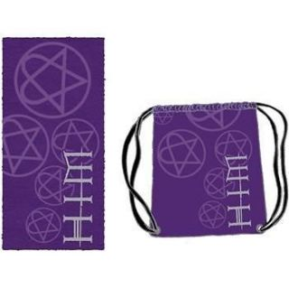 Love Metal Band HEARTAGRAM BEACH TOWEL w/ NYLON SLING BAG Purple New