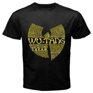 New WU TANG CLAN Logo Rap Hip Hop GZA RZA Black T Shirt Size S M L XL