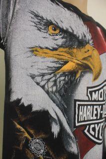 Harley Davidson LARGE Giant Bald Eagle American Flag Black SS T shirt