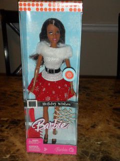 2007 African American Holiday Wishes Barbie with ornament and brush