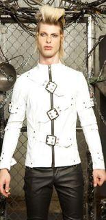 Lip Service Matte White Vinyl Straight Jacket HalloPunk Crazy Gothic