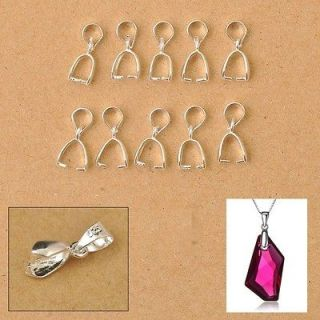925 Sterling Silver Findings Bail Connector Bale Pinch Clasp Pendant