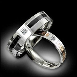 rhinestone Titanium Steel Promise Ring Couple Wedding Bands Gift J09