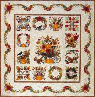 Baltimore Album Autumn Fall Applique 13 Block Month Quilt Pattern BOM