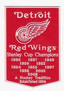 RED WINGS STANLEY CUP YEARS BANNER PATCH NHL DETROIT RED WINGS JERSEY
