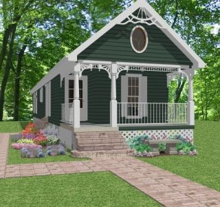 Complete House Plans    910 s/f  3 bed/2 bath cottage  narrow lot plan