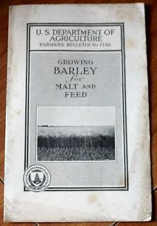 Growing Barley For Malt and Feed H. V. Harlan Grains Agriculture