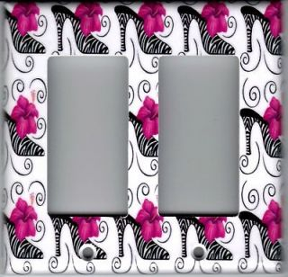 ZEBRA HIGH HEEL PINK FLOWER DOUBLE ROCKER SWITCH PLATE