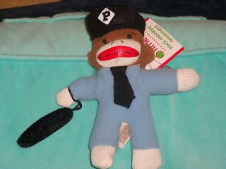 POLICE BATON UNIFORM OFFICER Sock Monkey Christmas ornament Doll
