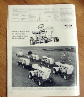 1968 Huffy Lawn Mower Tractors Ad Complete Line of Riding Mowers