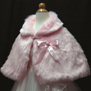 USMD55 Girls Pink Faux Fur Shawl/Shrug Bolero/Cape/Ja cket 3Yrs to