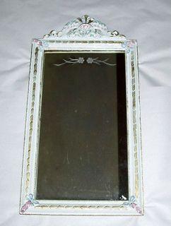 Vintage 1940s Cottage Chic White Floral Carved Wood Framed Mirror