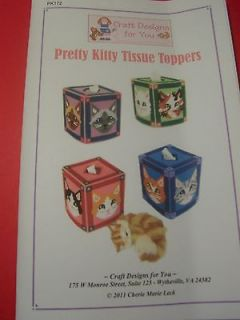 PRETTY KITTY _ TISSUE BOX COVERS_ plastic canvas PATTERN BOOKLET