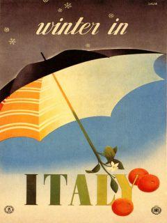 Winter Umbrella Flower Italy Italia Tourism Europe Vintage Poster Repo