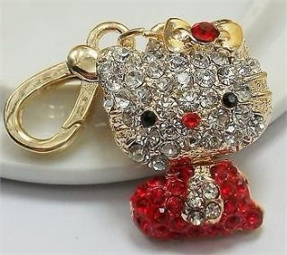 New Fashion Small HelloKitty Cute Swarovski Crystal Charm Pendant Key