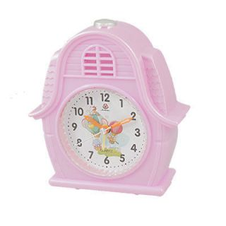 Battery Powered House Shaped Pink Plastic Alarm Clock