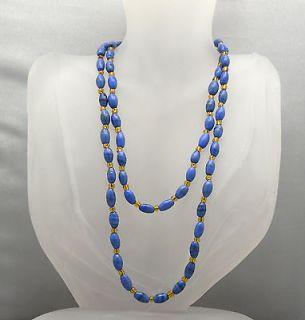 Vintage 34 Art Glass Faux Lapis lazuli Elongated Beads Necklace