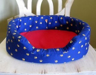 Build A Bear Plush Oval Bed/s Soft Blue/Red/Paw Prints