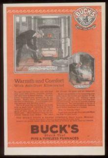 1921 Bucks Stove & range w/ ash sprinkler print ad