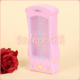 Light Pink Cute Bedroom Furniture Closet Wardrobe for Barbie butterfly