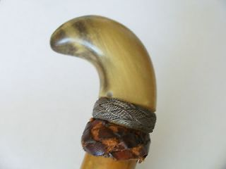 Newly listed Antique Equestrian Horn Silver Banded Leather Wood Riding
