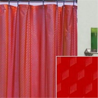 BRIGHT RED SPARKLE VINYL SHOWER CURTAIN HOOKS 70 X 72 NEW