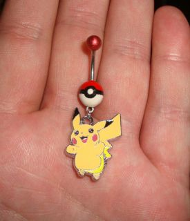 pokeball belly button ring