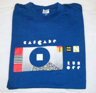 RARE Vtg 1987 Nike Cascade Run Off Waffle T Shirt Large L OG Pinwheel
