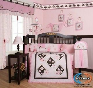Newly listed Boutique Pink Brown Butterfly 13PCS CRIB BEDDING SET